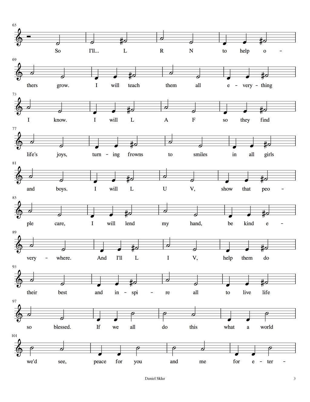 Song for LYF music score lyrics page 3 LRN LAF LUV LIV LYF Learn Laugh Love Live Life