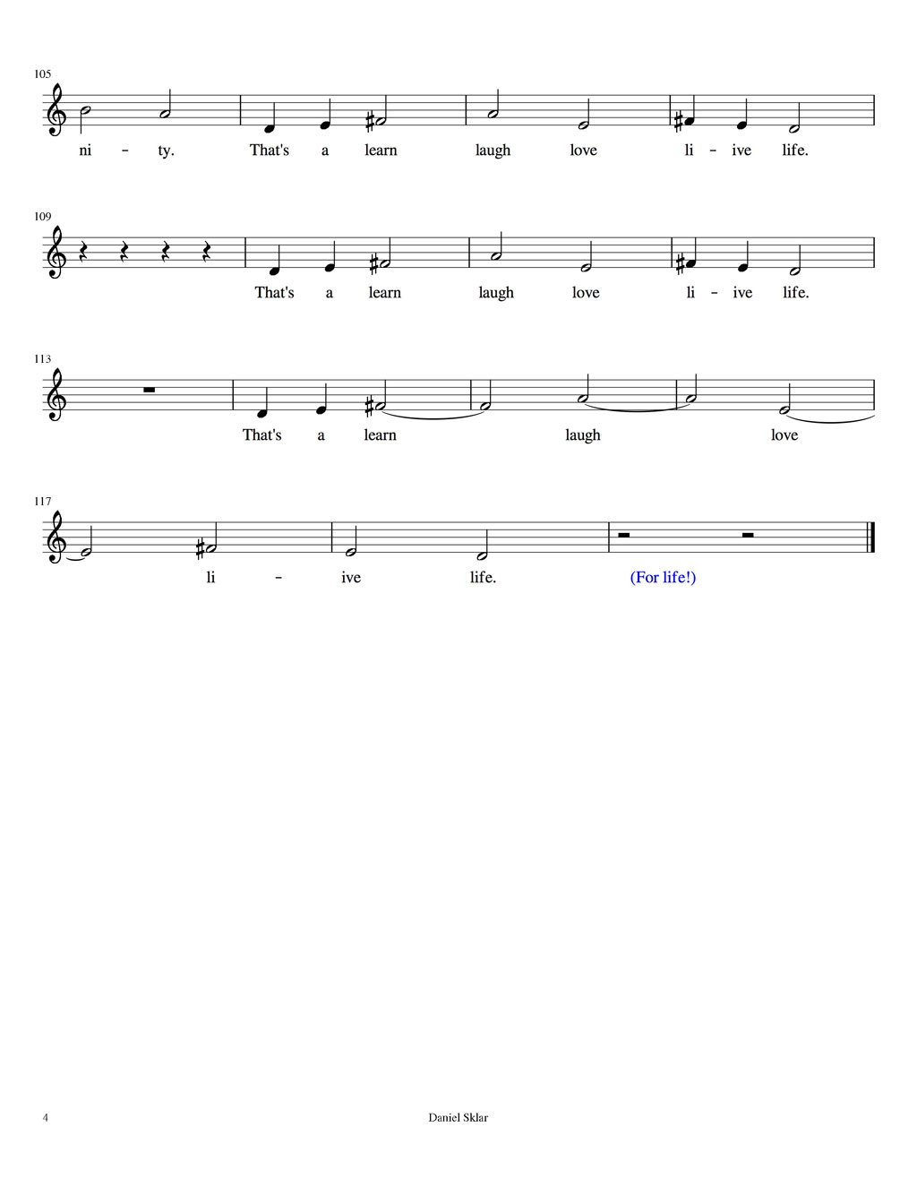 Song for LYF music score lyrics page 4 LRN LAF LUV LIV LYF Learn Laugh Love Live Life