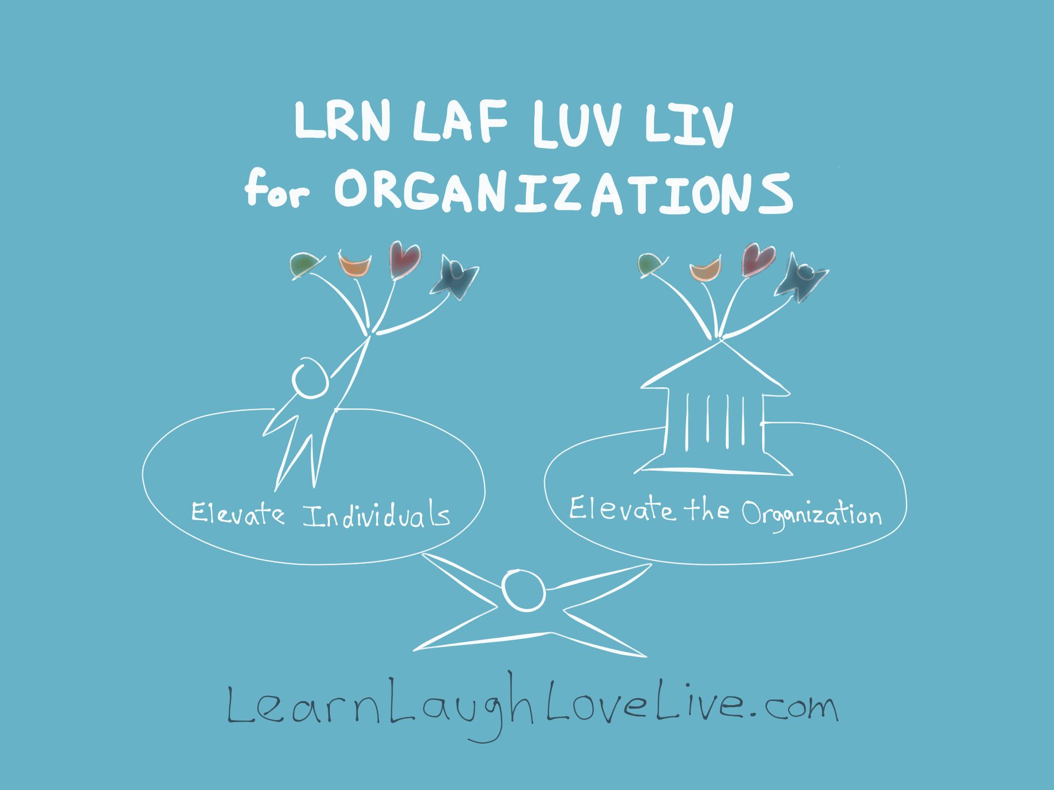 LRN LAF LUV LIV Organizations Learn Laugh Love Live Life LYF