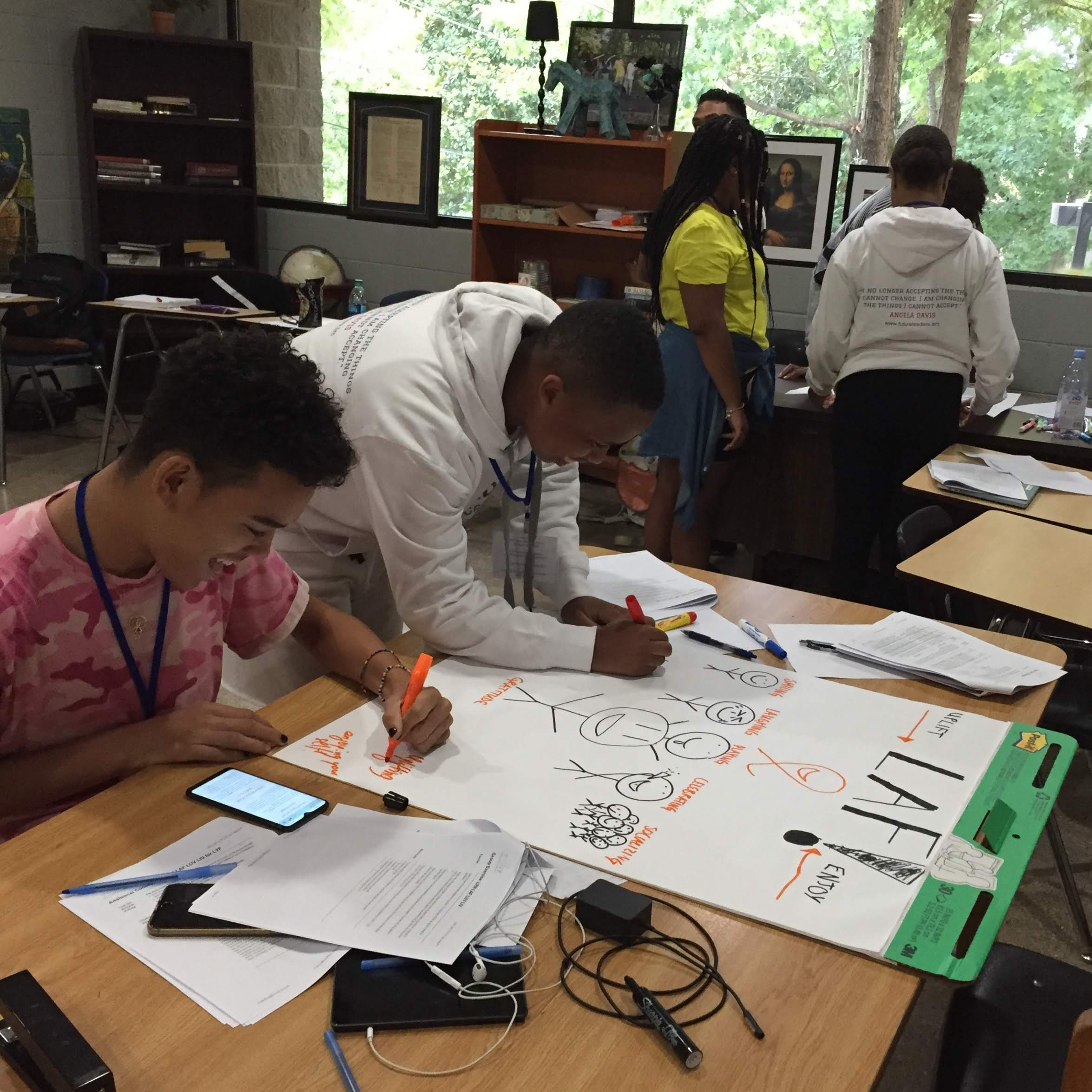 LRN LAF LUV LIV Learn Laugh Love Live for Leaders Workshop 2 Students Creating Poster