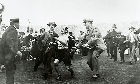 Dorando Pietri finishes 1908 Controversial Marathon