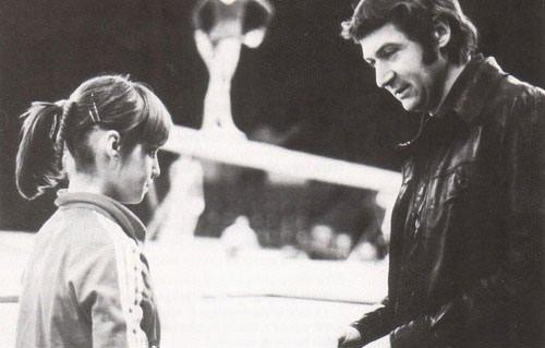 Comaneci with her coach Bela Karolyi