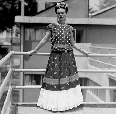 Frida Kahlo in traditional dress