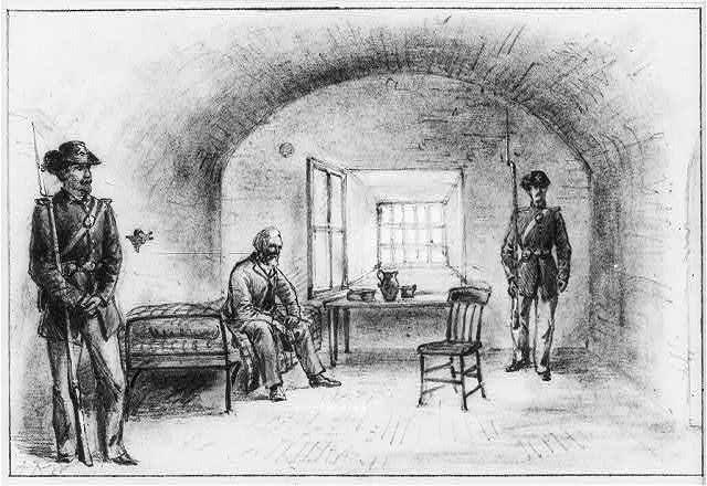 Davis imprisoned at Fort Monroe