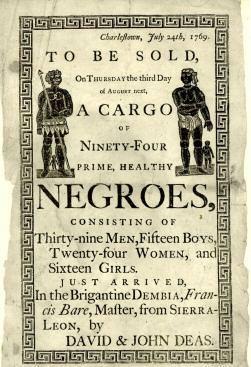 Handbill advertising a slave auction