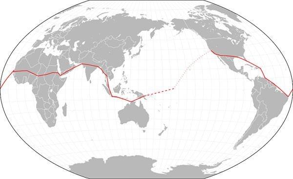 Amelia Earhart circumnavigational flight plan map