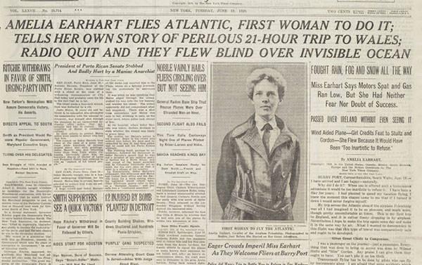 The New York Times on Amelia Earhart's 1928 transatlantic flight