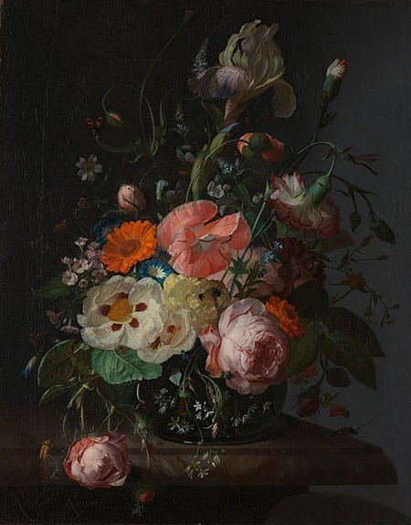 Still Life with Flowers on a Marble Slab (1716)