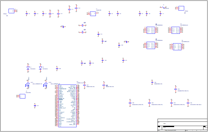 Schematic of Buck-Boost Maximum Power Point Tracking circuit components in OrCAD Capture 17.2 Scaled at 0.10 inch pin-to-pin spacing