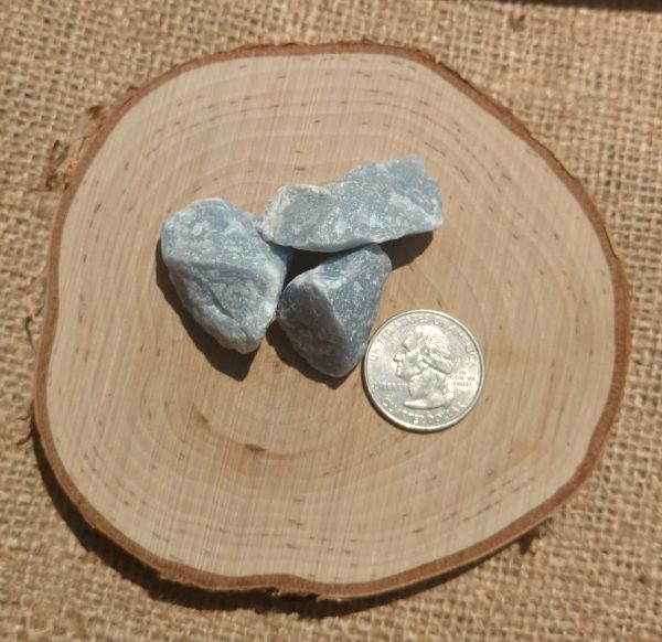 angelite next to a quarter for size scale