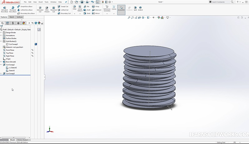 chair step stool bamboo dining chairs and table boss/base sweep feature | learnsolidworks.com