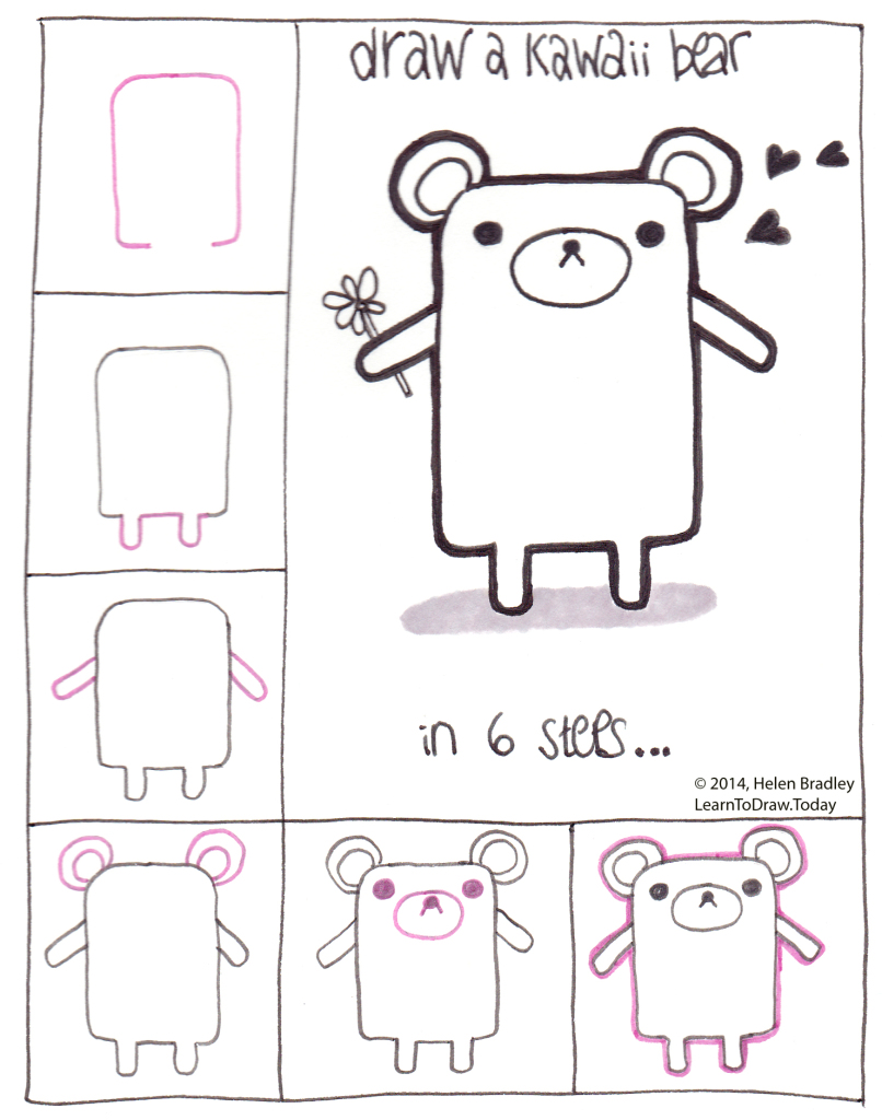 Draw a Kawaii Style Bear in 6 steps : Learn To Draw