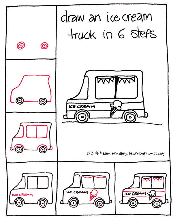 Learn to Draw an Ice Cream Truck in 6 Steps : Learn To Draw