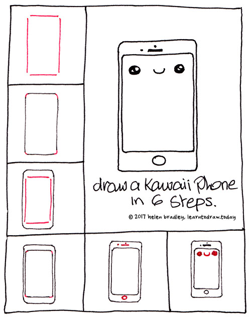 Learn to Draw an IPhone in 6 steps : Learn To Draw