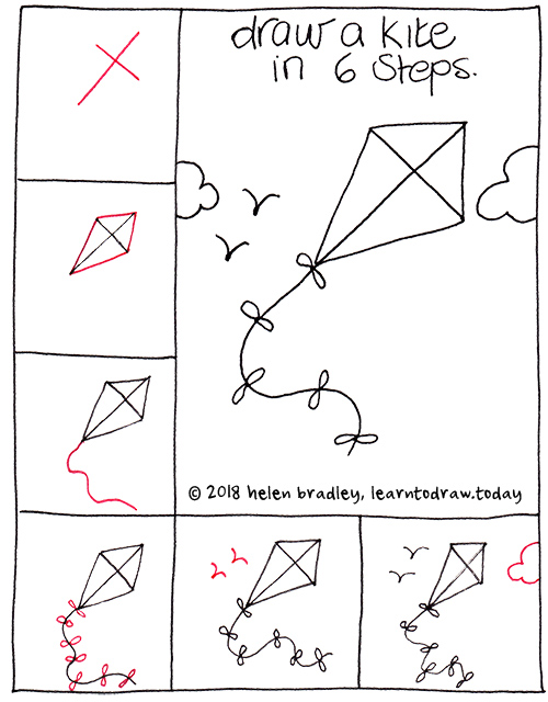 How to Draw a Flying Kite in Six Steps : Learn To Draw