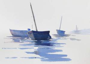 Watercolour painting of mist at Burnham Overy Staithe