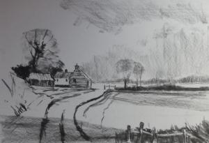 Charcoal sketch of Norfolk barns