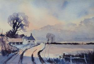 Barns, Fields and Sky. A two colour palette using Ultramarine Blue and Brown Madder. Watercolour 15ins x 22ins.