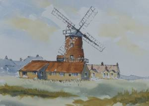 pen and wash painting of Cley-next-the-sea windmill, norfolk