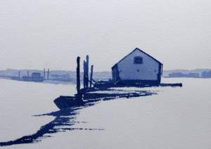 Watercolour painting of mist at Thornham Harbour
