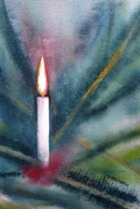 Watercolour painting of a candle in a Christmas tree