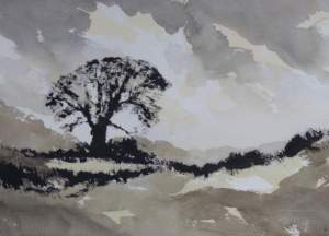 winter tree and field painting