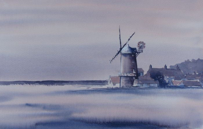 Watercolour painting of winter sunset at Cley-next-the-sea windmill.