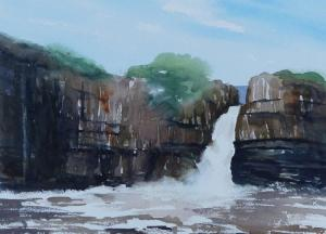 Painting of High Force Teesdale