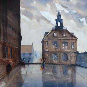 King's Lynn Custom house rainy day painting
