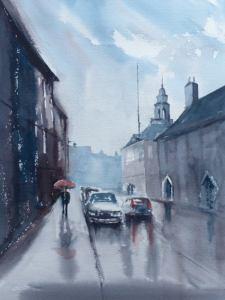 King Street Kings Lynn rainy day painting