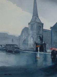 St Nicholas Chapel Kings Lynn rainy day painting