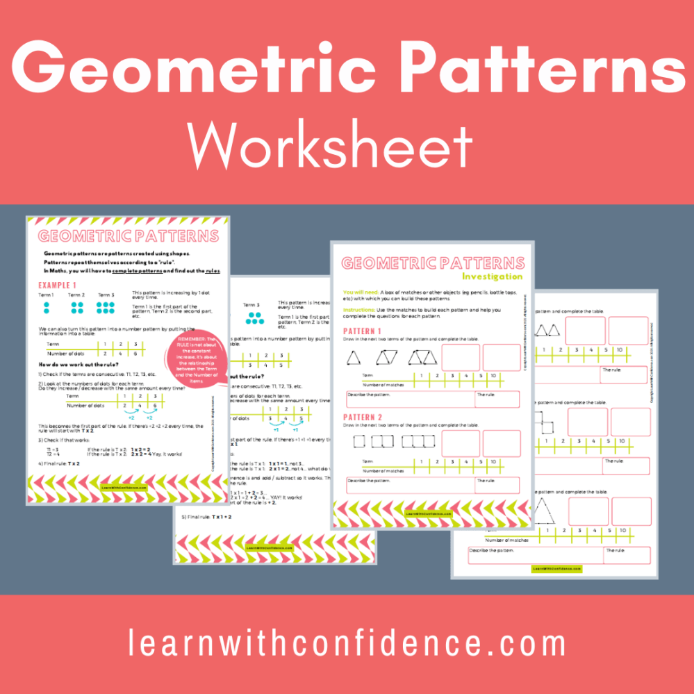 medium resolution of Geometric Patterns Worksheet (Grade 5)   Learn with Confidence