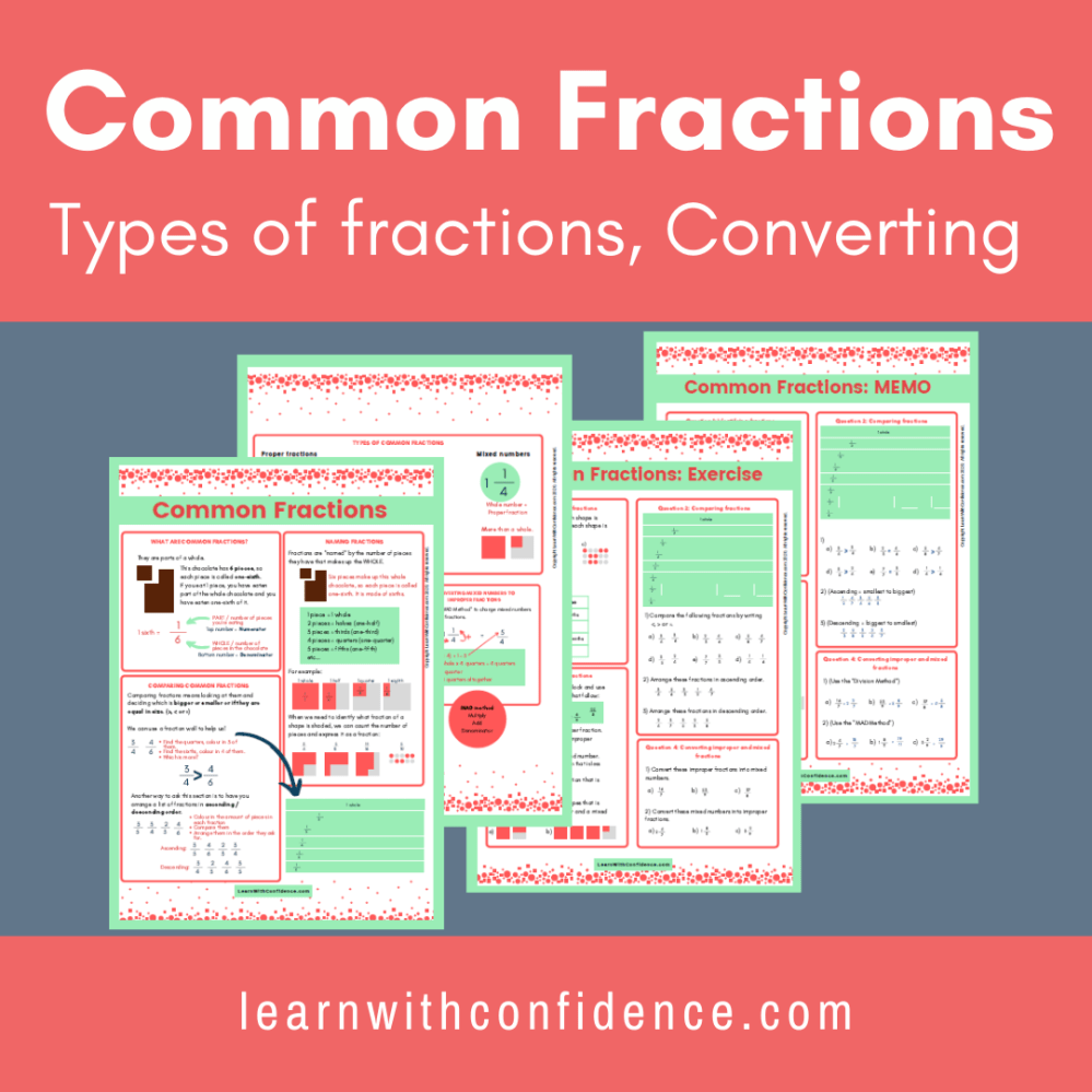 medium resolution of Common Fractions 1 (Worksheet and Memo) (Grade 5)   Learn with Confidence