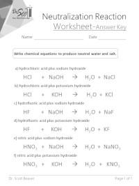 Acid Base Neutralization Reaction Worksheet : neutralization, reaction, worksheet, Neutralization, Reaction, Science
