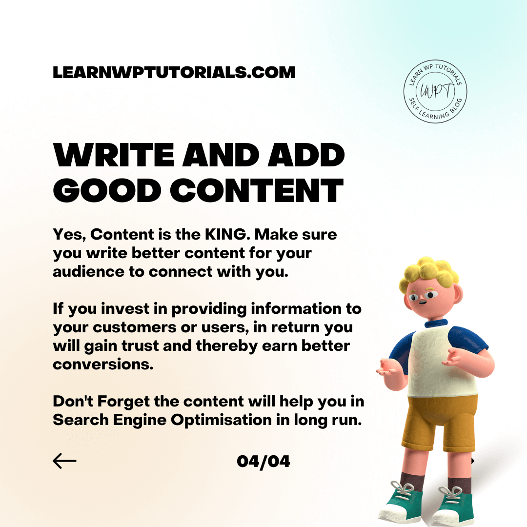 write and add good Content