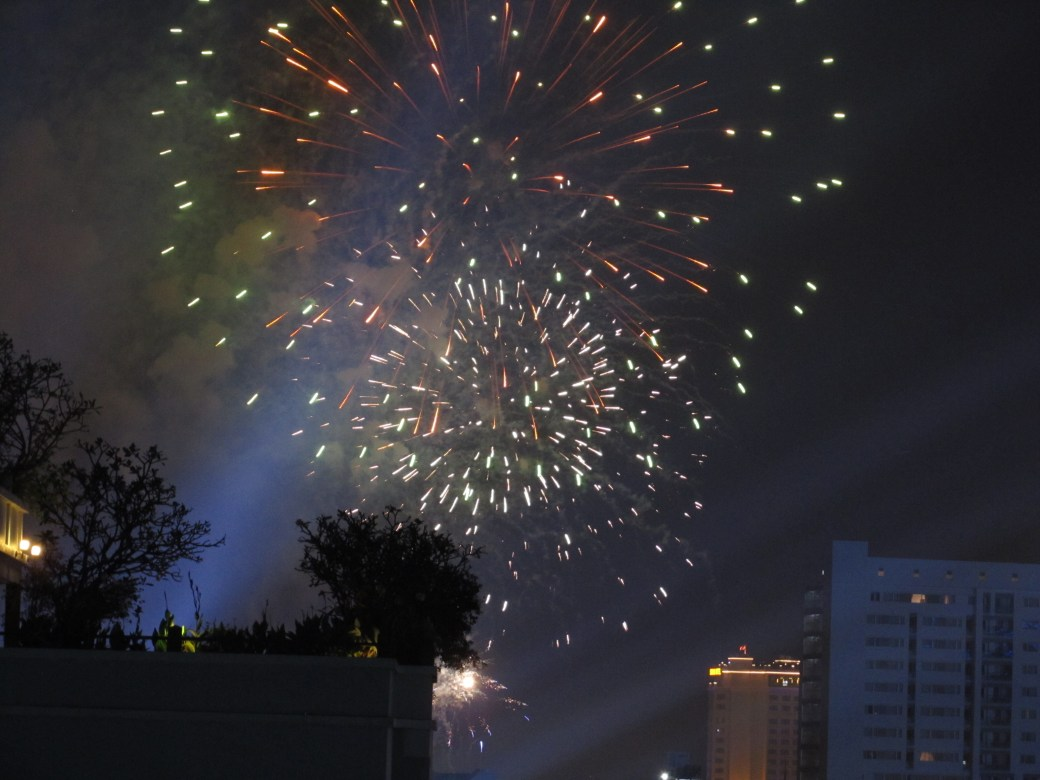 Fireworks at the rooftop of my hotel.
