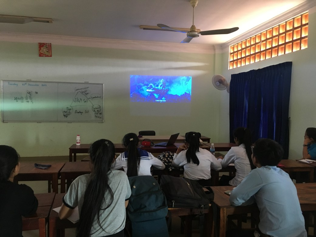 Students watching Small Foot