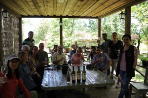 Happy tourists tasting wine in Kakheti, Georgia