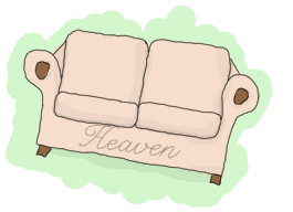 A couch, with 'heaven' written on it