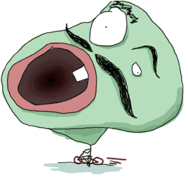 A green man with a huge head and tiny body on a bicycle