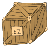 a crate with a sign that sayz '.ez'