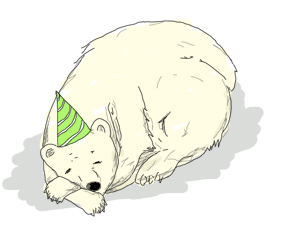 A sleeping polar bear with a birthday hat