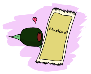 An olive loving a packet of mustard