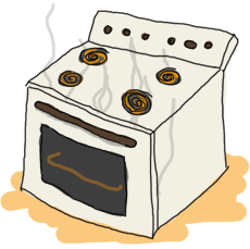 An old oven with smoke coming out of it