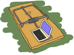 A mouse trap with a beige laptop on top