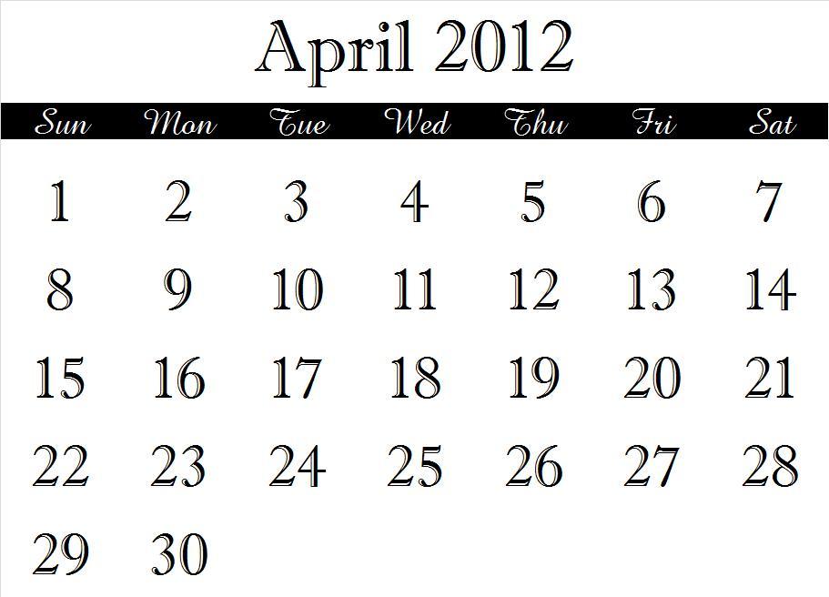 ~ 2012 Calendar Months (4/6)