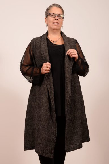 Enwrap Vest from Flax is versatile, seasonless, and tunic-length - Lea's