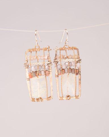 Modern Tribal earrings - rectangular shape brass woven earring with Pineapple Quartz, Terra Verde, and Prehnite.