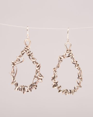 Infinite wrap earrings, hand formed teardrop shaped wrapped with oxidized sterling silver and gold filled wire