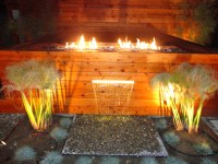 Custom fire pit with Fire Crystals, and water feature ...